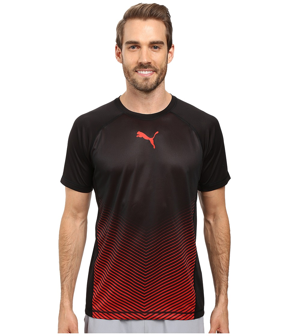 PUMA Vent Short Sleeve Tee (PUMA Black/PUMA Red) Men