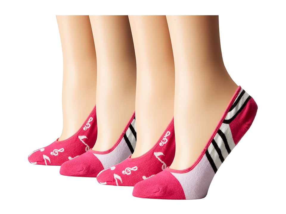 Kate Spade New York - Music Notes Liner Scuba Stripes 4-Pack Liner (Cabernet Pink) Women's Crew Cut Socks Shoes