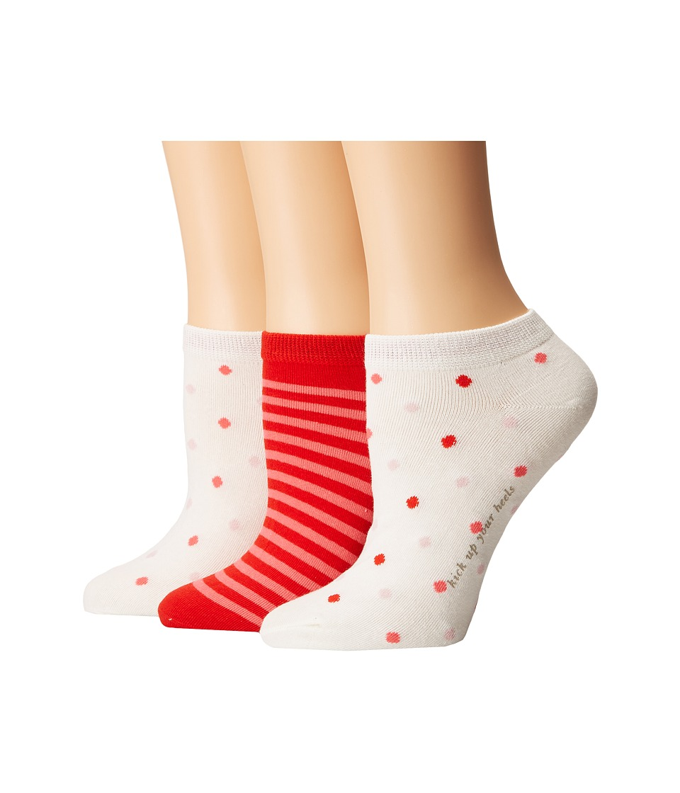 Kate Spade New York - Multi Dot/Stripe 3-Pack No Show (Cream) Women's Crew Cut Socks Shoes