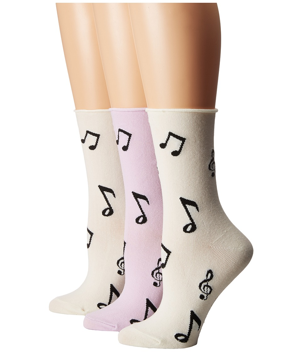 Kate Spade New York - Music Note 3-Pack Crew (Cream) Women's Crew Cut Socks Shoes