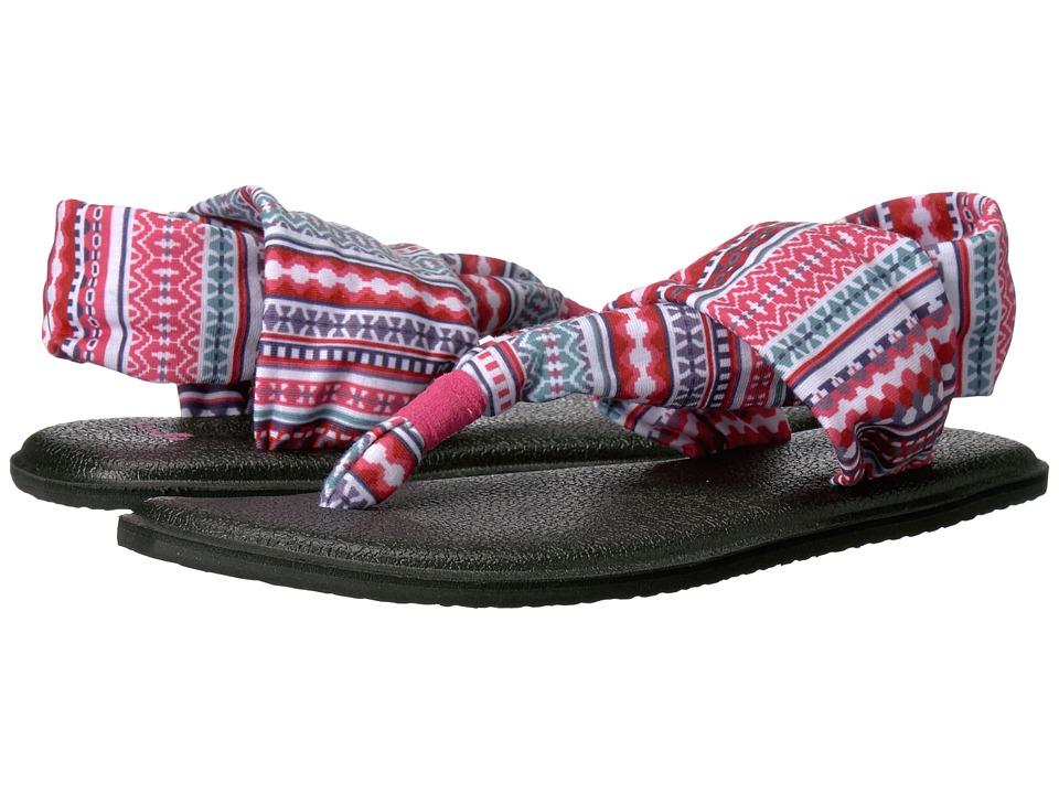 Sanuk Kids Yoga Sling Burst Prints (Little Kid/Big Kid) (Raspberry Lanai Blanket) Girls Shoes