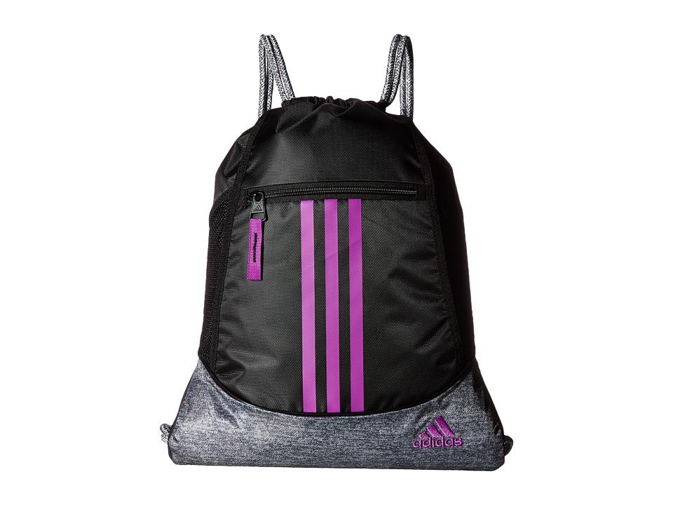 adidas - Alliance II Sackpack (Black/Jersey Onix/Shock Purple) Bags