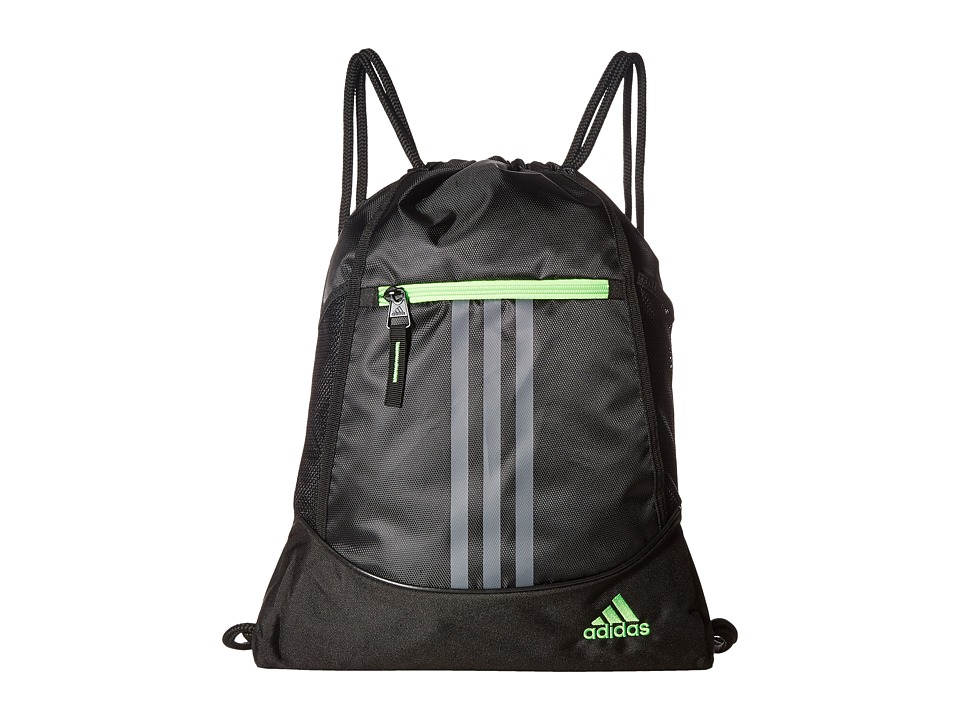 adidas - Alliance II Sackpack (Black/Onix/Solar Green) Bags