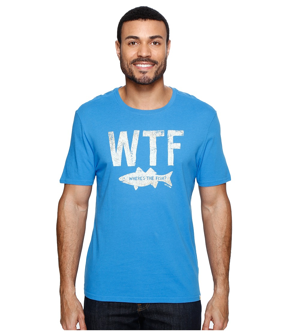 Life is Good - WTF Fish Smooth Tee (Marina Blue) Men's T Shirt
