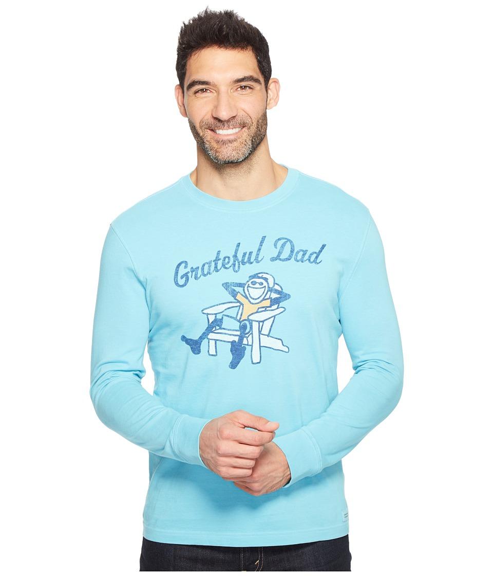 Life is Good - Grateful Dad Adirondack Long Sleeve Crusher Tee (Bleached Blue) Men's T Shirt