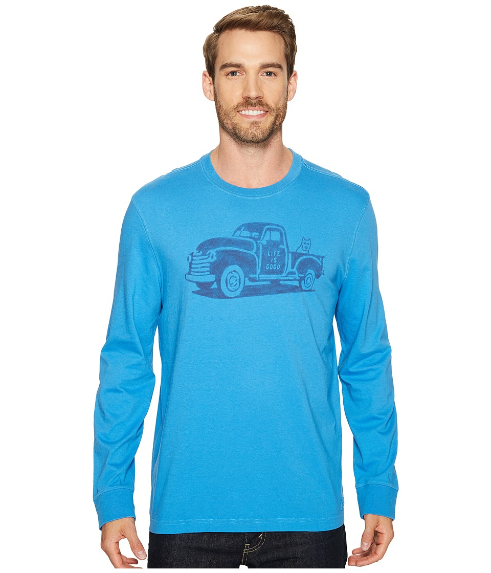 Life is Good - Old School Truck Long Sleeve Crusher Tee (Bleached Blue) Men's T Shirt