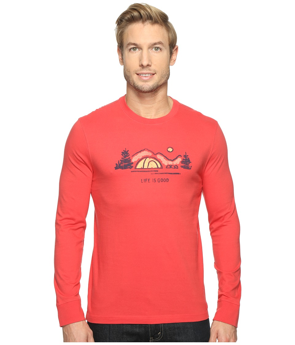 Life is Good - Tent Landscape Long Sleeve Crusher Tee (Americana Red) Men's T Shirt