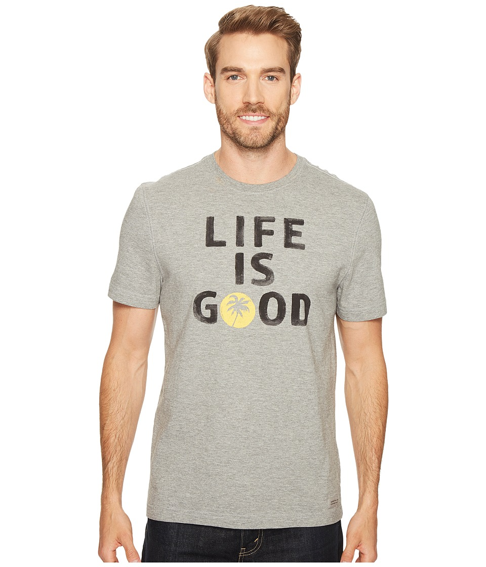 Life is Good - Palm Tree Crusher Tee (Heather Gray) Men's T Shirt