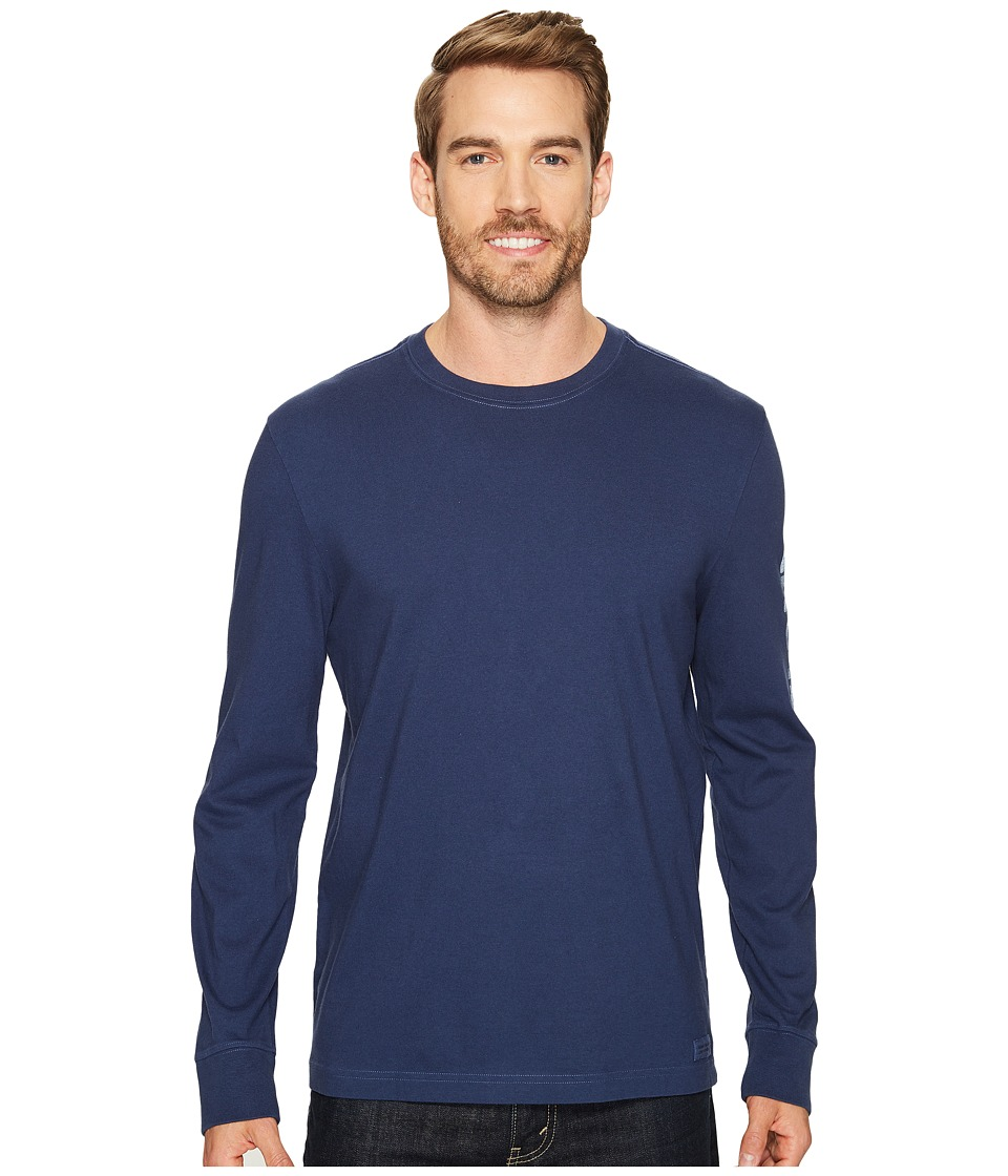 Life is Good - Painted Long Sleeve Crusher Tee (Darkest Blue) Men's T Shirt