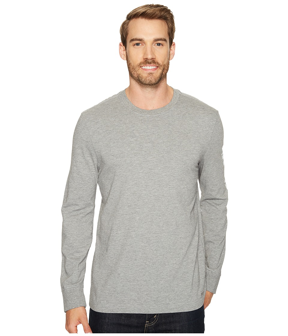 Life is Good Painted Long Sleeve Crusher Tee (Heather Gray) Men