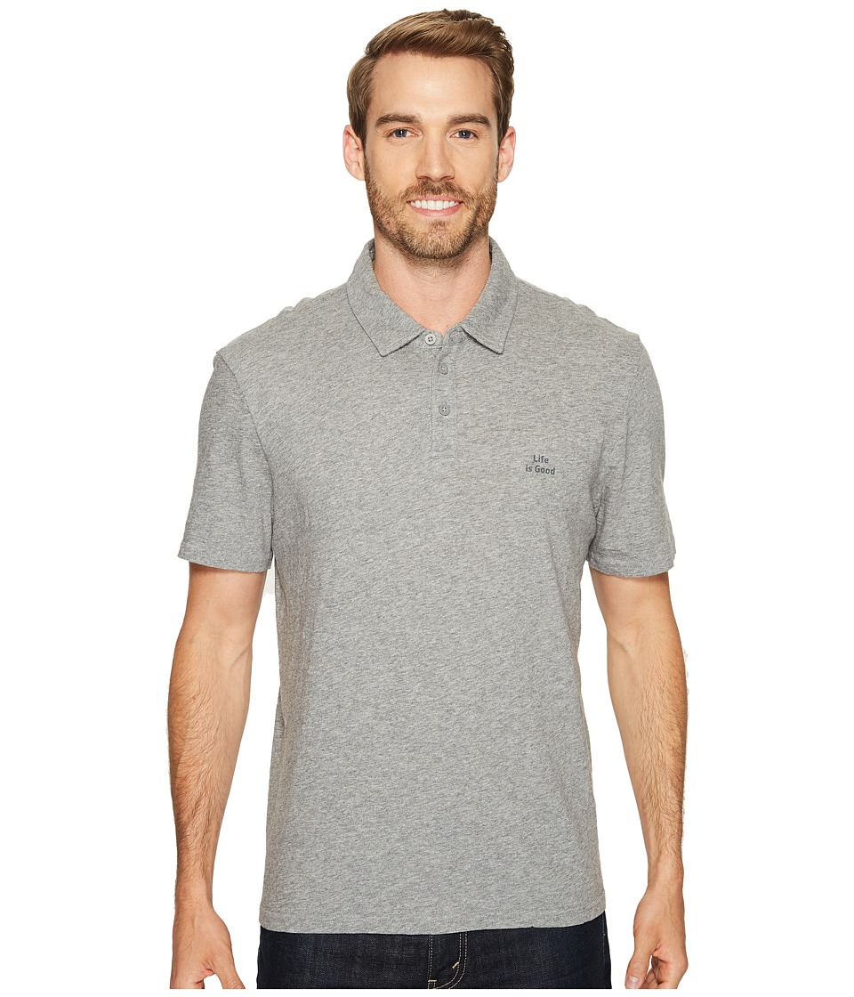 Life is Good - Life is Good(r) Polo Tee (Heather Gray) Men's Clothing