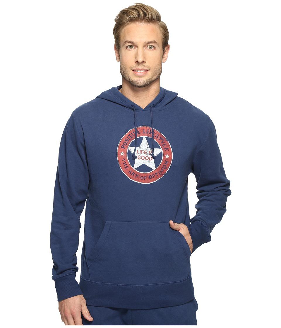 Life is good - Positive Lifestyle Go-To Hoodie (Darkest Blue) Men's Sweatshirt