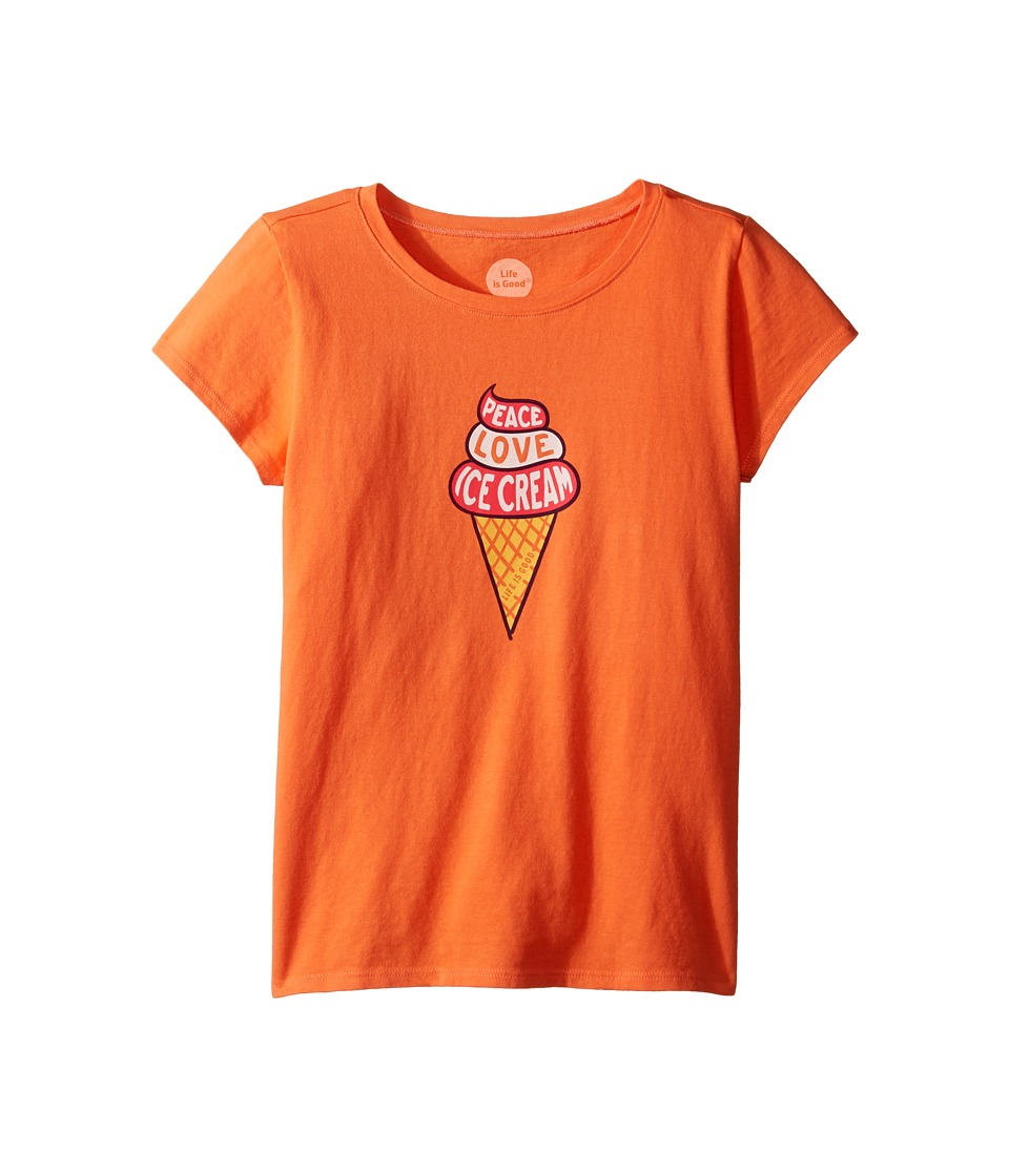 Life is Good Kids - Peace Love Ice Cream Tee (Little Kids/Big Kids) (Tropical Orange) Girl's T Shirt