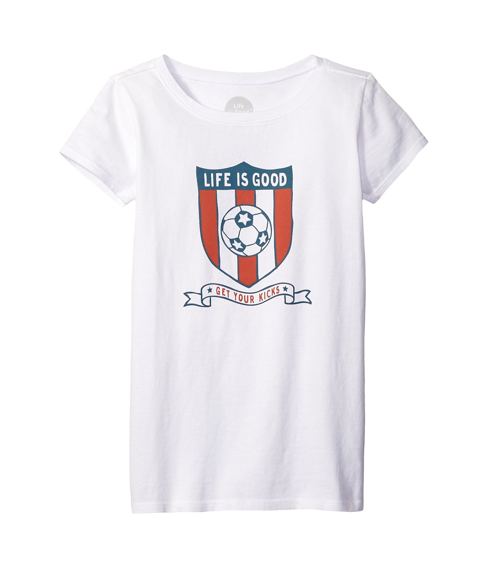 Life is Good Kids - Soccer Shield Tee (Little Kids/Big Kids) (Cloud White) Girl's T Shirt