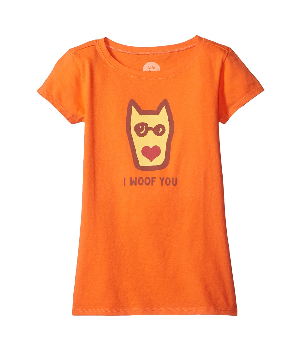 Life is Good Kids - I Woof You Crusher Tee (Little Kids/Big Kids) (Tropical Orange) Girl's T Shirt