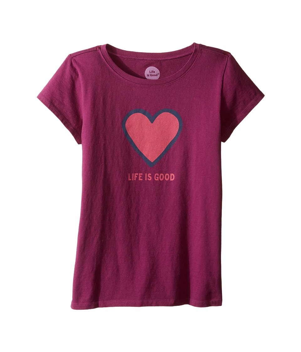 Life is Good Kids - Heart Tee (Little Kids/Big Kids) (Deep Plum) Girl's T Shirt