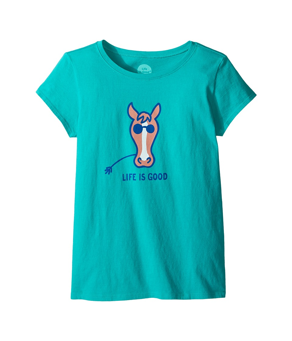 Life is Good Kids - Horse Crusher Tee (Little Kids/Big Kids) (Bright Teal) Girl's T Shirt