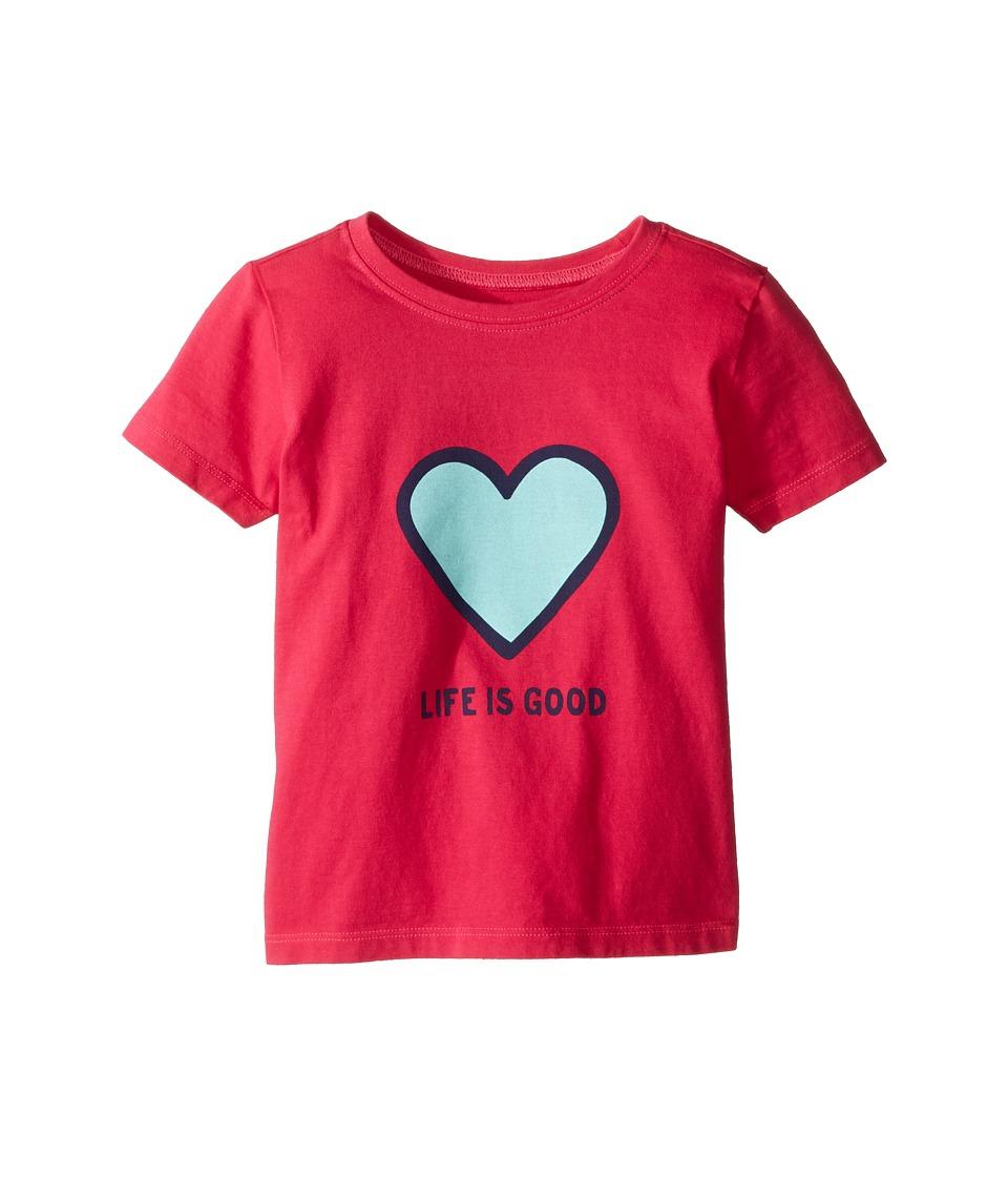 Life is Good Kids - Heart Tee (Toddler) (Pop Pink) Girl's T Shirt