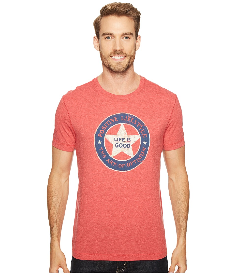 Life is Good - Positive Lifestyle Cool Tee (Americana Red) Men's T Shirt