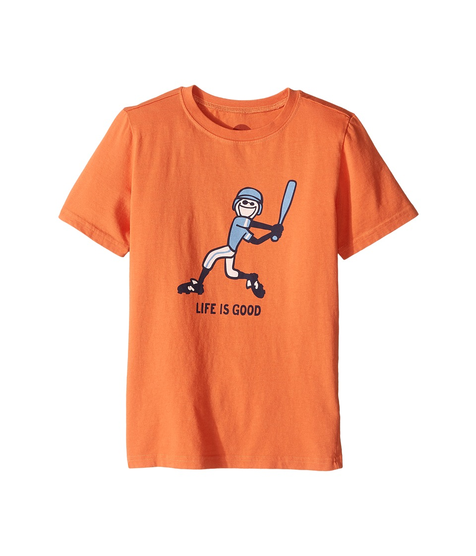 Life is Good Kids - Baseball Swing Crusher Tee (Little Kids/Big Kids) (Deep Orange) Boy's T Shirt
