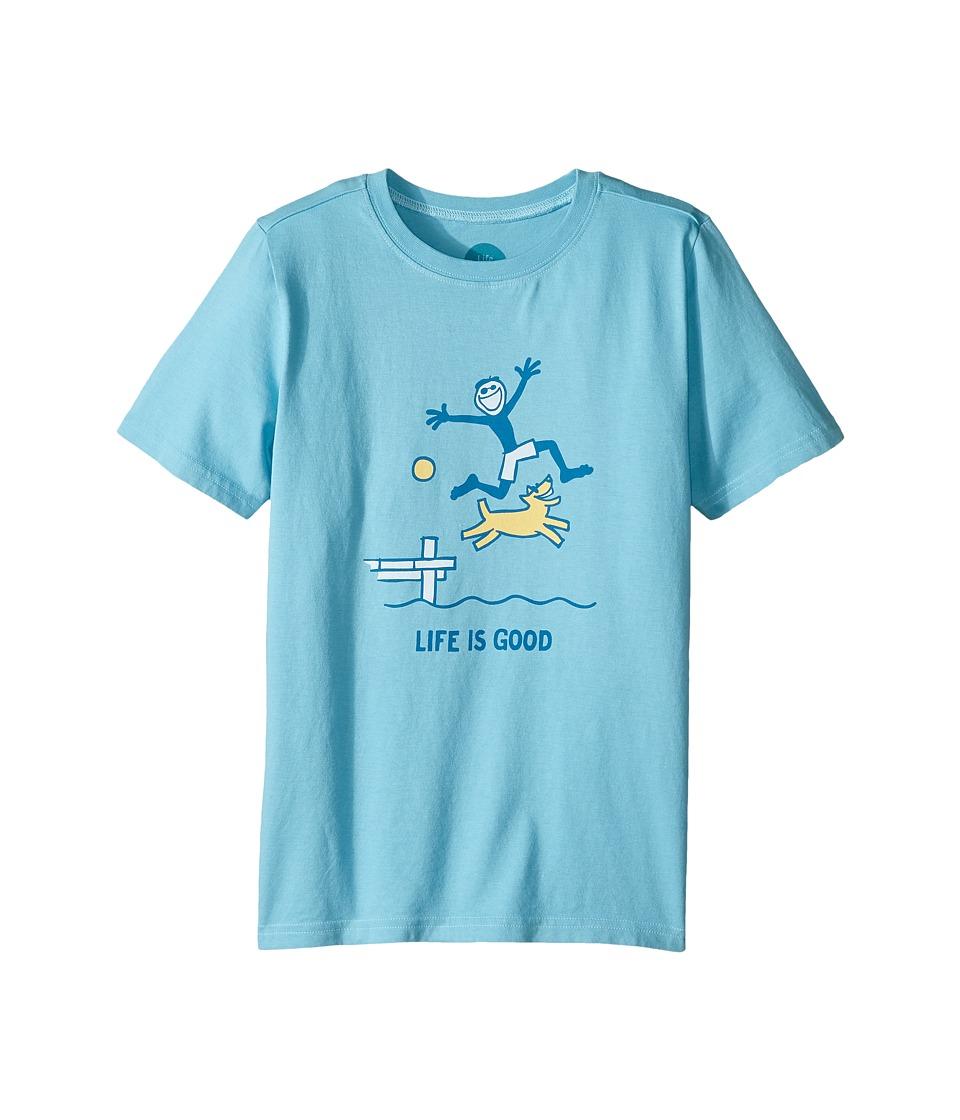 Life is Good Kids - Dock Jump Crusher Tee (Little Kids/Big Kids) (Bleached Blue) Boy's T Shirt