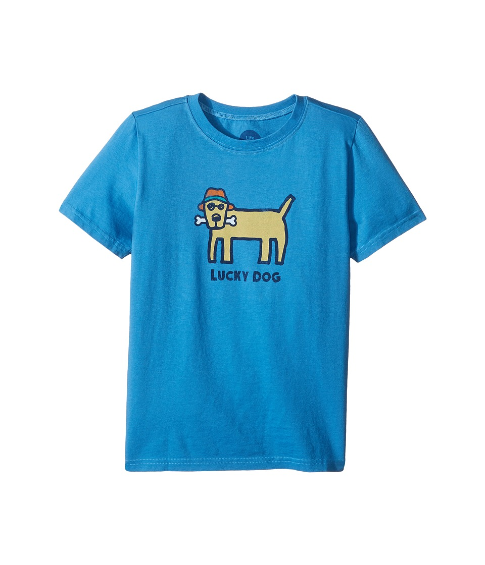 Life is Good Kids - Lucky Dog Crusher Tee (Little Kids/Big Kids) (Marina Blue) Boy's T Shirt