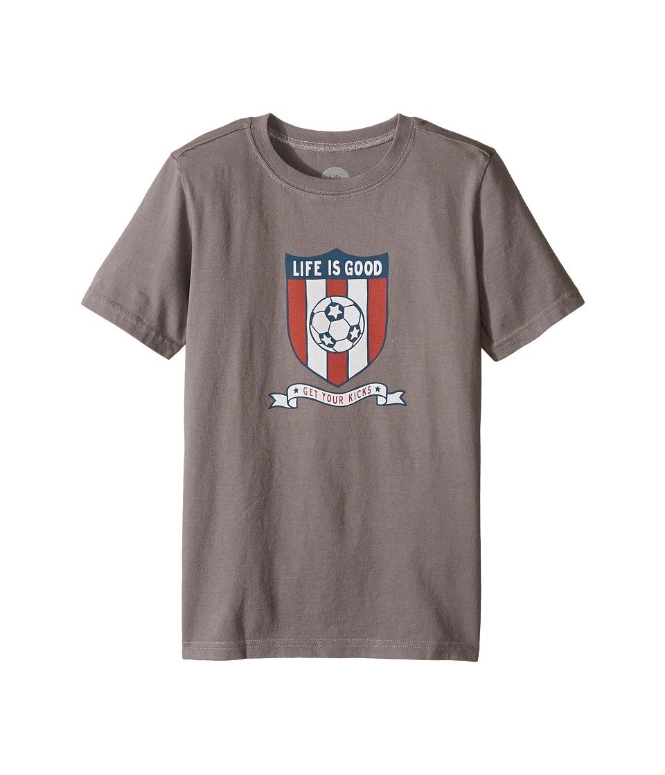 Life is Good Kids - Soccer Crest Crusher Tee (Little Kids/Big Kids) (Slate Gray) Boy's T Shirt