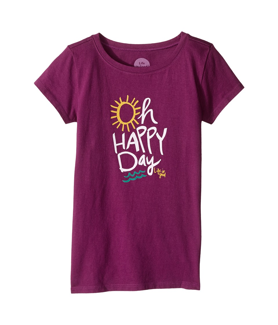 Life is Good Kids - Oh Happy Day Crusher Tee (Little Kids/Big Kids) (Deep Plum) Girl's T Shirt