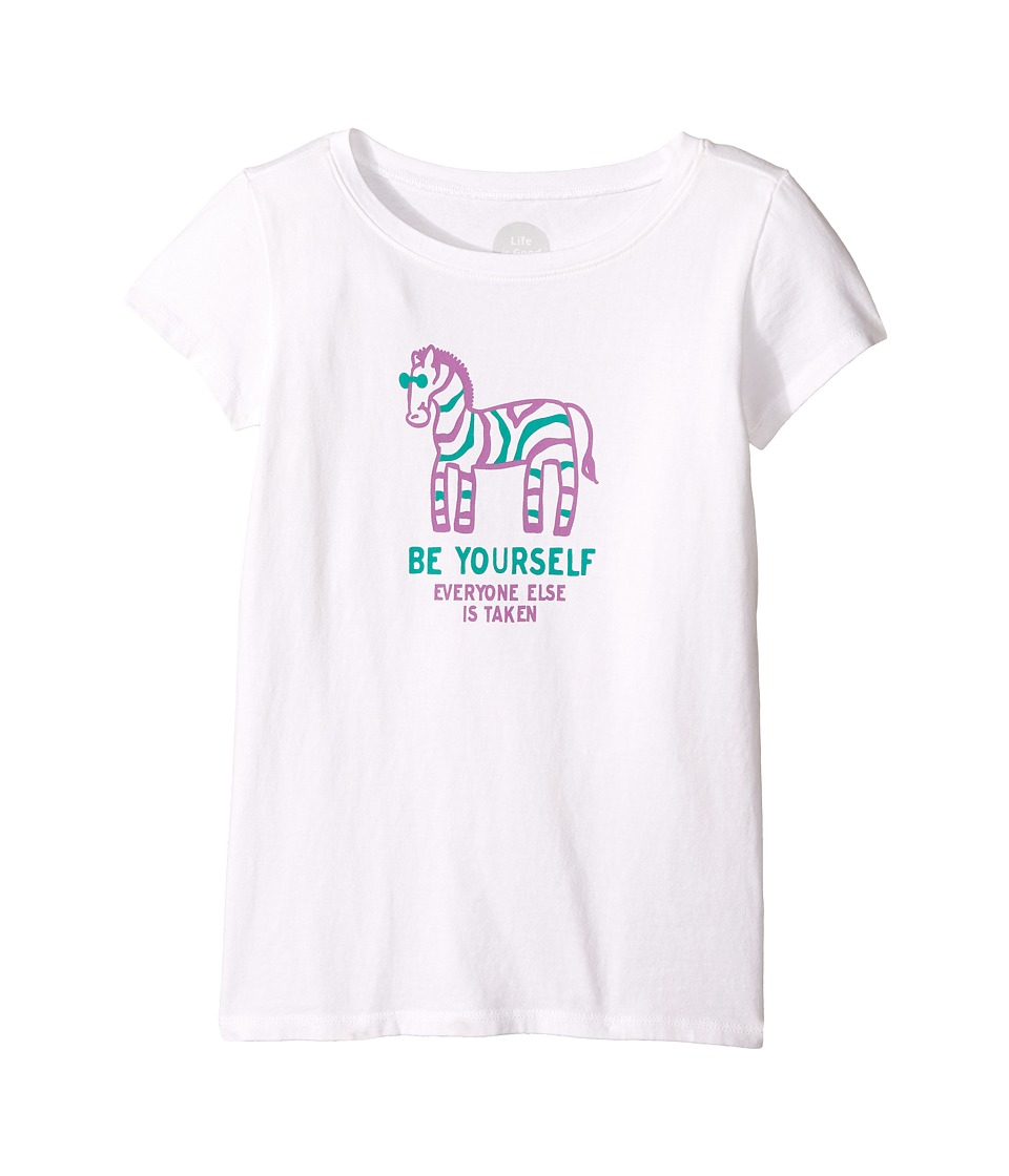 Life is Good Kids - Zebra Be Yourself Crusher Tee (Little Kids/Big Kids) (Cloud White) Girl's T Shirt