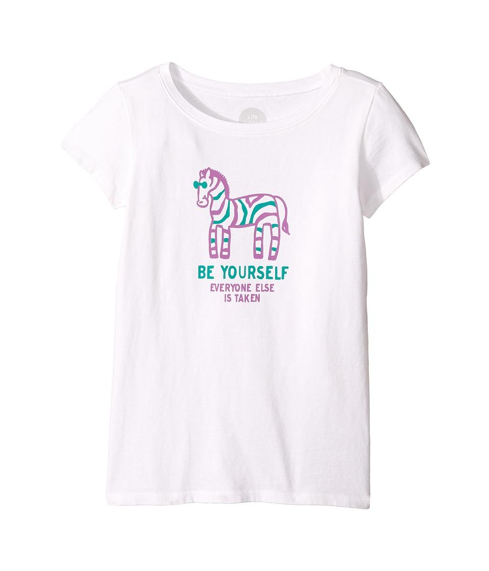 Life is Good Kids - Zebra Be Yourself Crusher Tee (Little Kids/Big Kids) (Cloud White) Girl's T Shirt