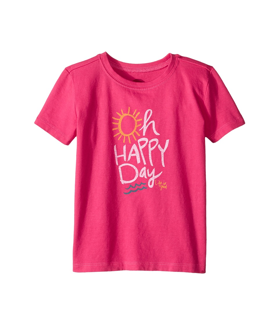 Life is Good Kids - Oh Happy Day Crusher Tee (Toddler) (Pop Pink) Girl's T Shirt