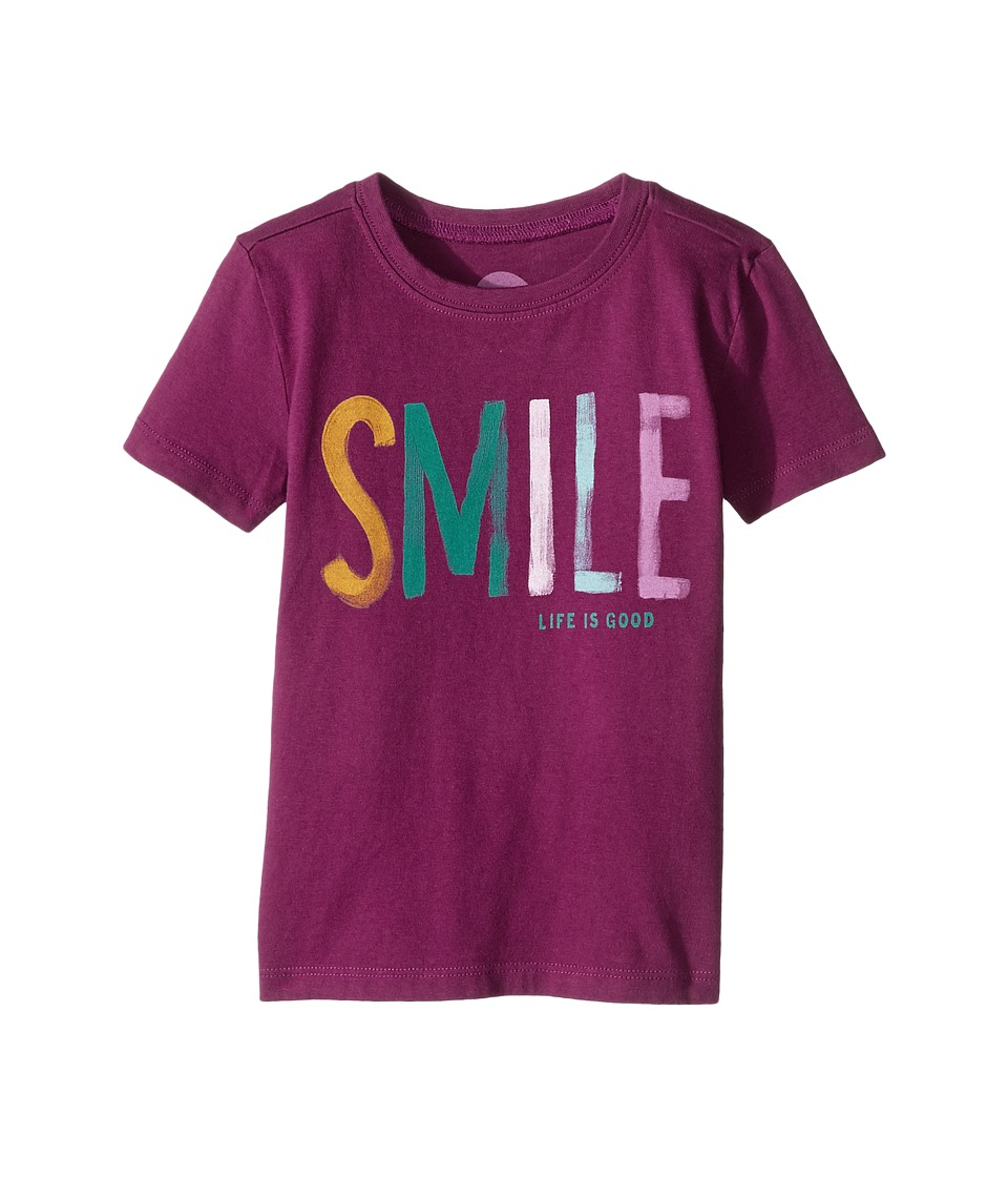 Life is Good Kids - Smile Crusher Tee (Toddler) (Deep Plum) Girl's T Shirt
