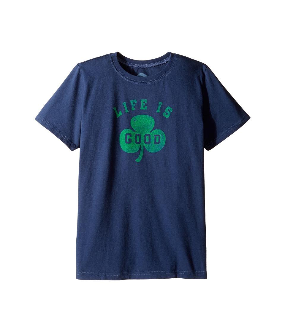 Life is Good Kids - Shamrock Tee (Little Kids/Big Kids) (Darkest Blue) Boy's T Shirt