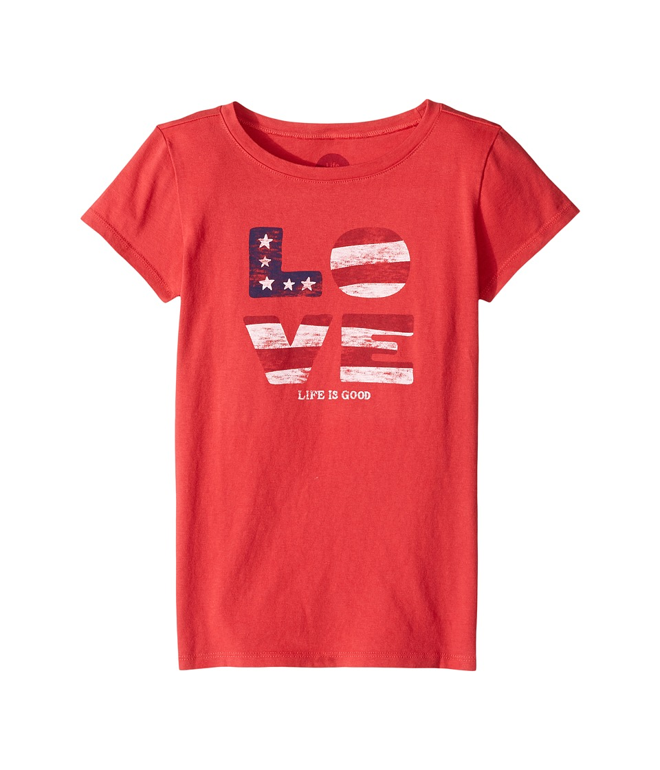 Life is Good Kids - Love Flag Crusher Tee (Little Kids/Big Kids) (Americana Red) Girl's T Shirt