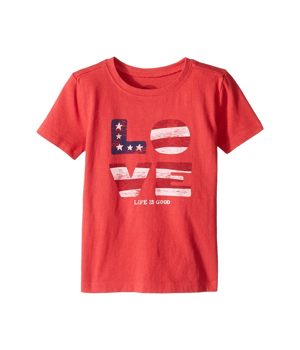 Life is Good Kids - Love Flag Crusher Tee (Toddler) (Americana Red) Girl's T Shirt