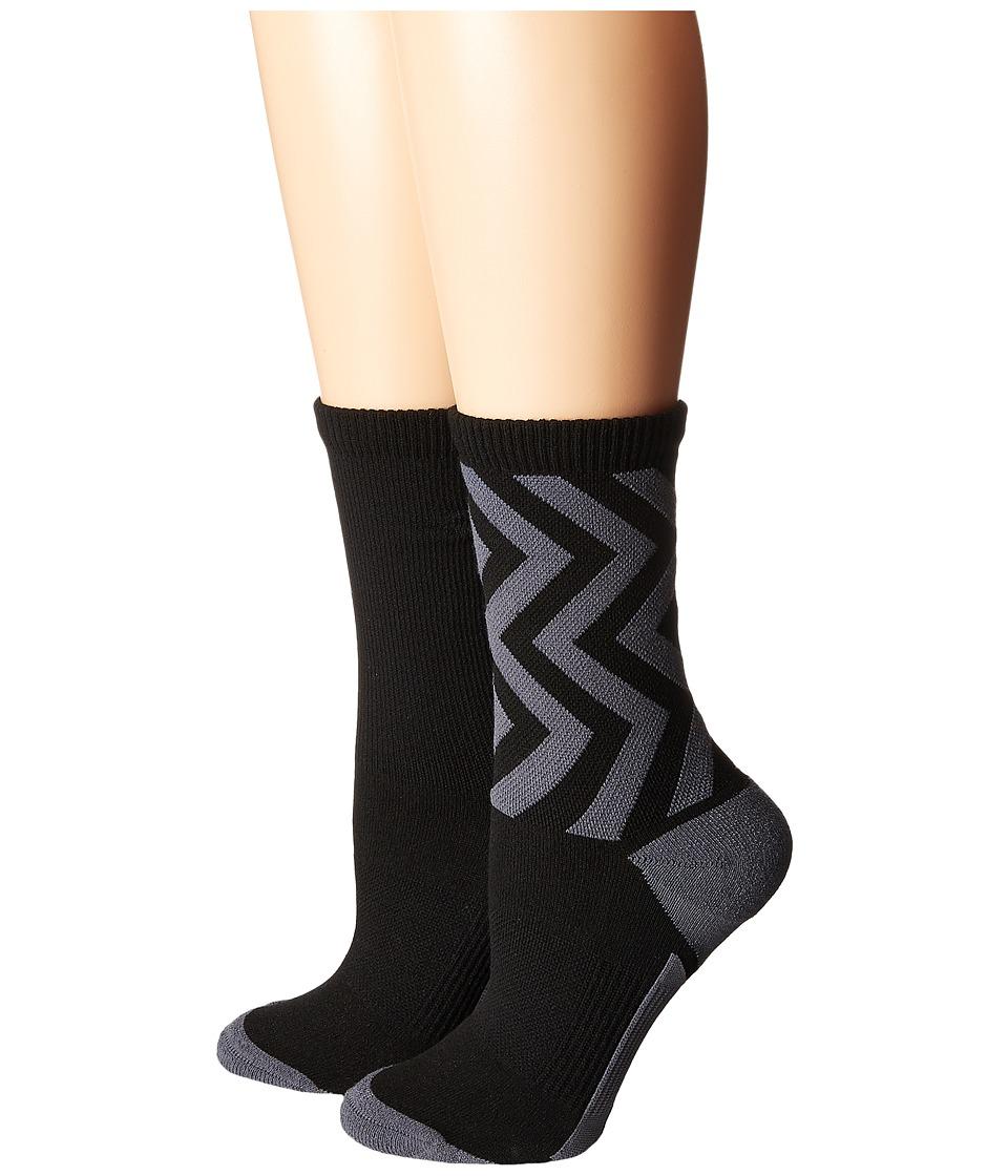 adidas - Studio II Crew Socks 2-Pack (Black/Onix/Easy Green) Women's Crew Cut Socks Shoes
