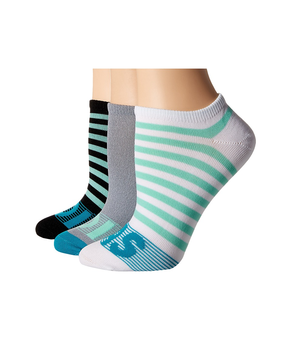 adidas - adiStripe 3-Pack No Show (Black/Easy Green/Lab Green/Grey/Clear Onix Marl/White) Women's No Show Socks Shoes