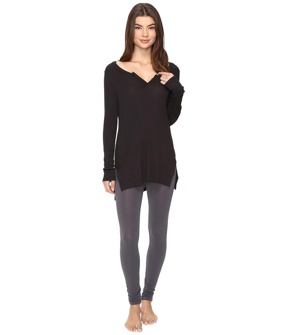 Yummie by Heather Thomson - 2x1 Rib Long Sleeve Top (Black) Women's Clothing