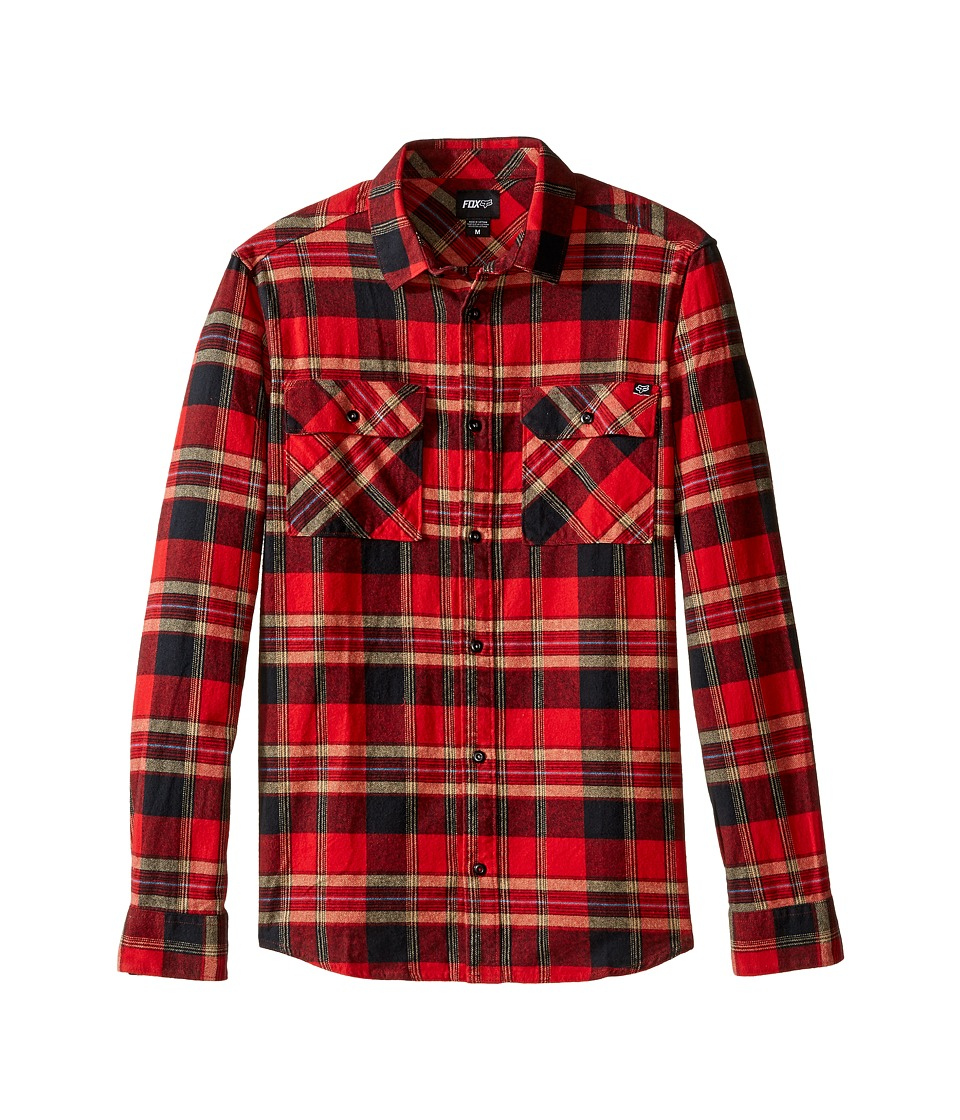 Fox - Glamper Long Sleeve Flannel (Red) Men's Clothing