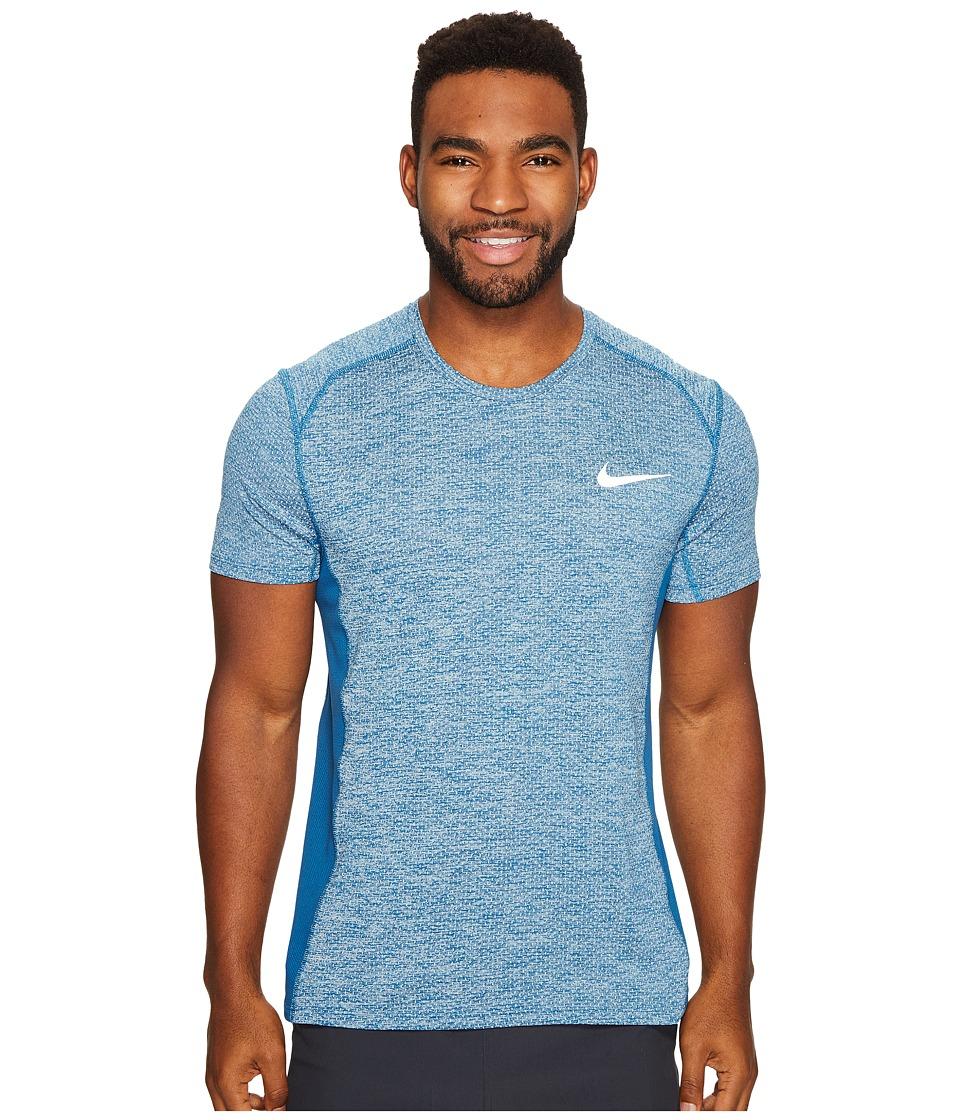 Nike - Dry Miler Short Sleeve Running Top (Glacier Blue/Heather/Industrial Blue) Men's Clothing