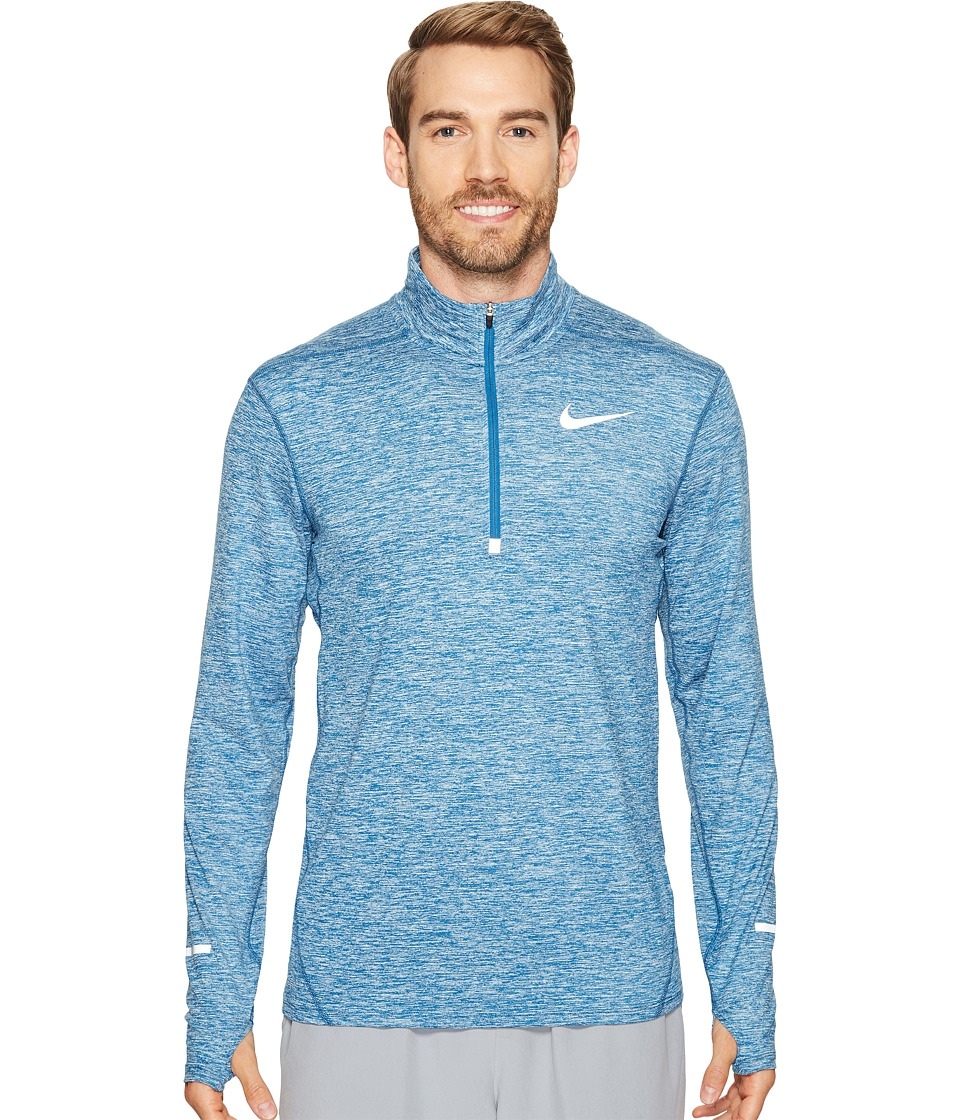 Nike - Dry Element Long Sleeve Running Top (Industrial Blue/Heather/Black) Men's Long Sleeve Pullover