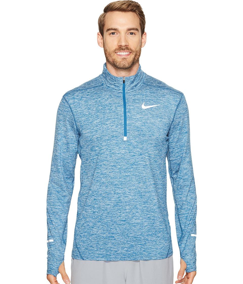 Nike - Dry Element Long Sleeve Running Top (Industrial Blue/Heather/Black) Men's Long Sleeve Pullover