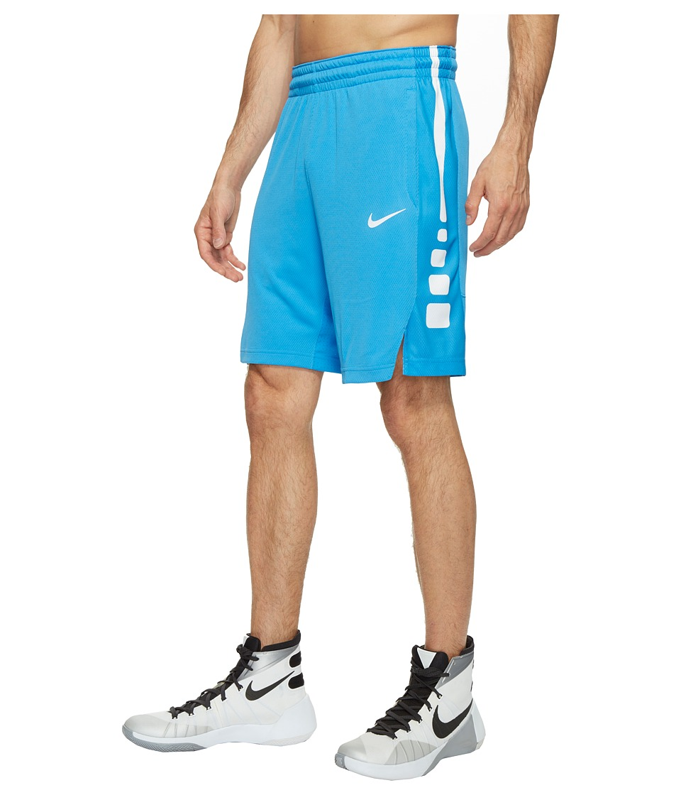 Nike - Elite Stripe Basketball Short (Light Photo Blue/Light Photo Blue/White/White) Men's Shorts