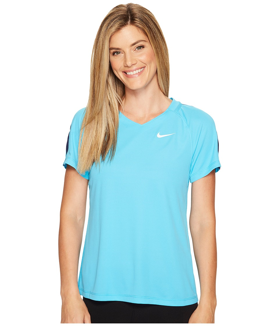 Nike - Dry Short Sleeve Soccer Top (Chlorine Blue/Binary Blue/White) Women's Clothing