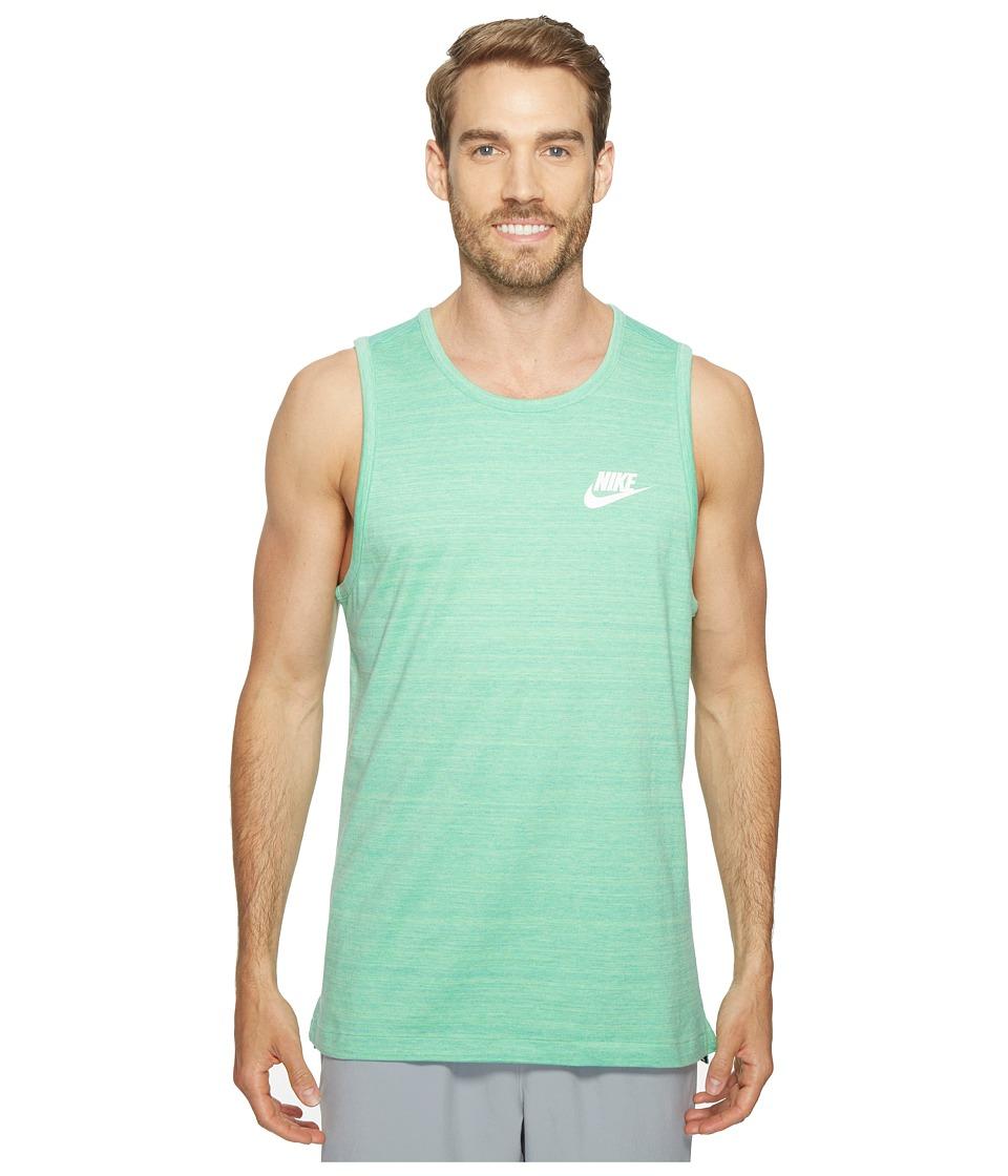 Nike - Sportswear Advance 15 Tank (Tourmaline/Heather/White) Men's Sleeveless