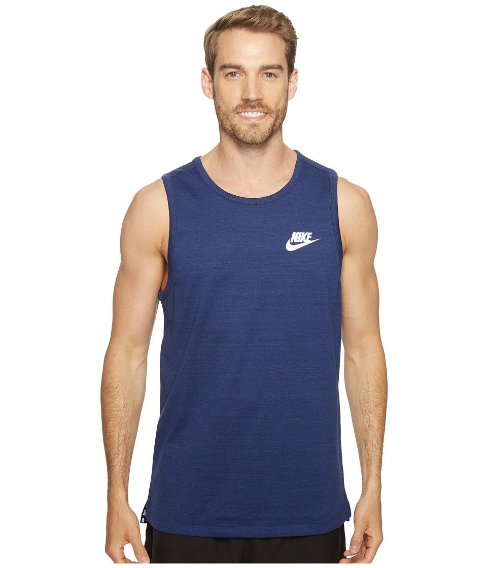 Nike - Sportswear Advance 15 Tank (Binary Blue/Heather/White) Men's Sleeveless