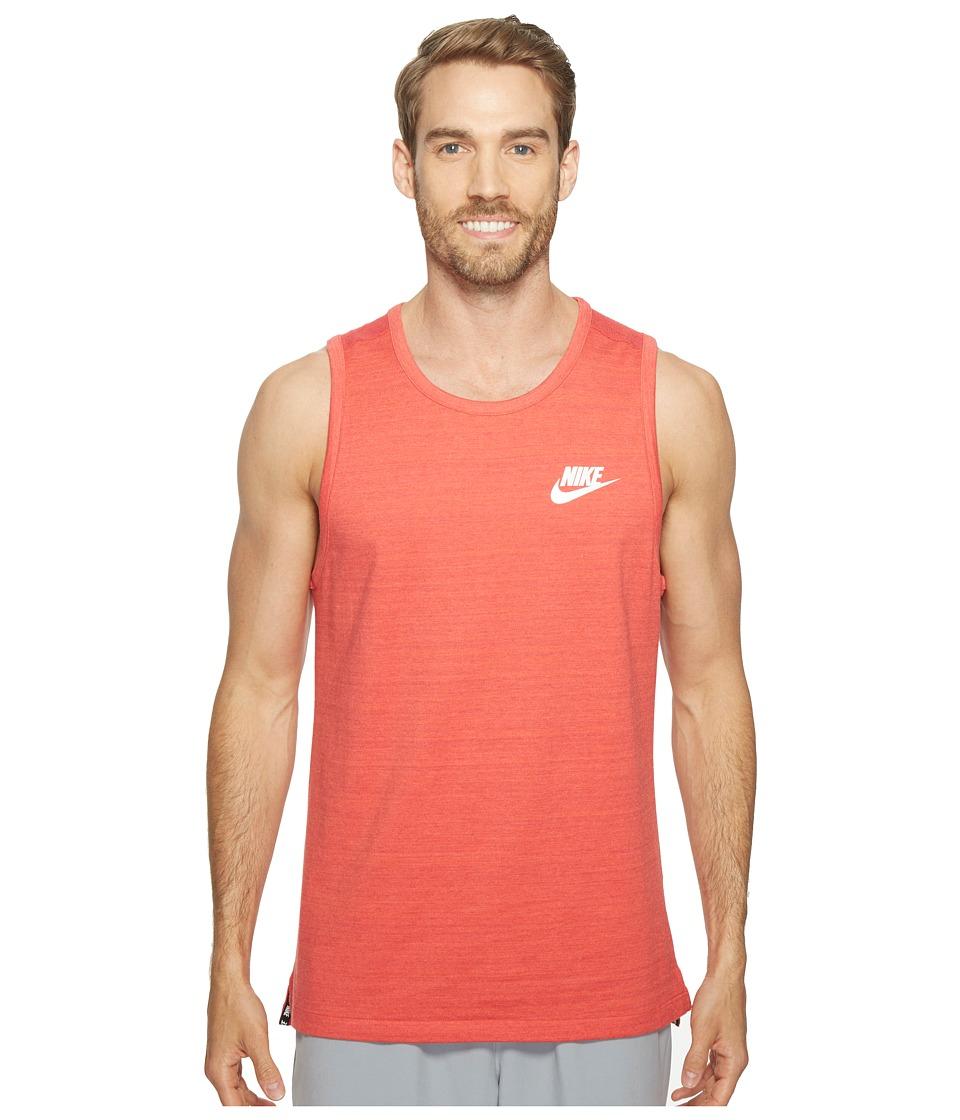 Nike - Sportswear Advance 15 Tank (Track Red/Heather/White) Men's Sleeveless