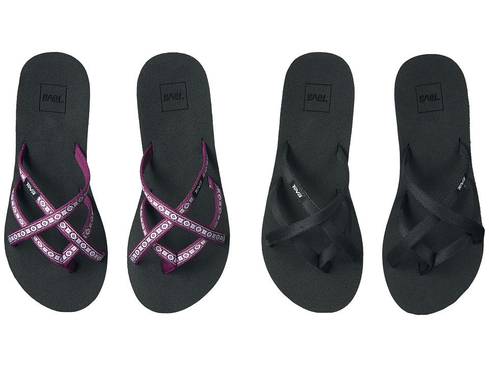 Teva - Mandalyn Wedge Ola 2-Pack (Black/Lydia Dark Purple) Women's Sandals