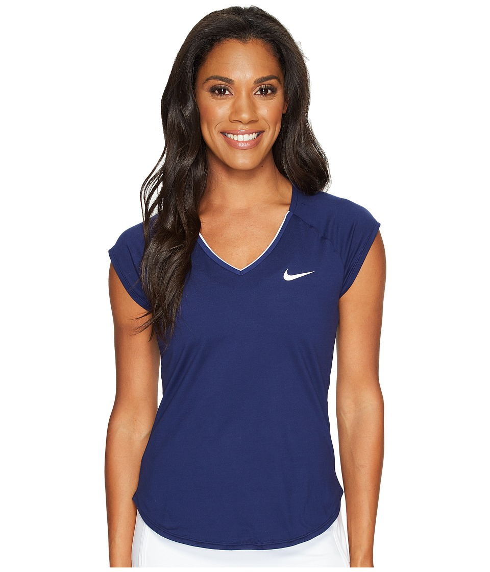 Nike - Court Pure Tennis Top (Binary Blue/White) Women's Short Sleeve Pullover