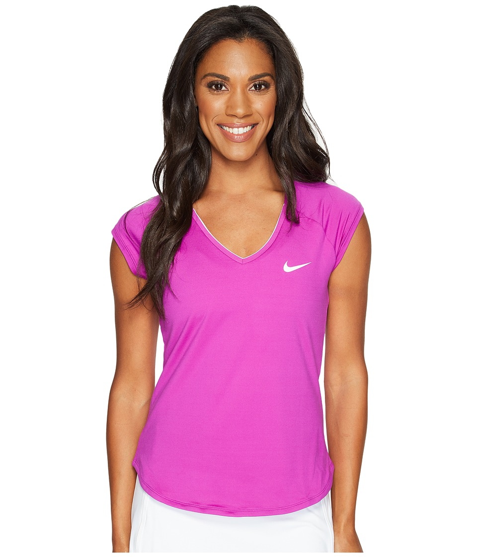 Nike - Court Pure Tennis Top (Vivid Purple/White) Women's Short Sleeve Pullover